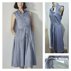 NWT Trenery Shirt Dress 14 L women's | CHAMBRAY Blue Dress | RP$229 Country Road