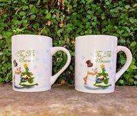 "Pair: SNOWMAN Christmas MUGS ADORABLE Vintage 4"" High x 3"" Tall."