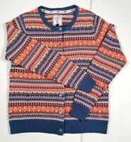 Country Rose Ladies Cardigan Fairisle Button Font Small 50s Style Vintage Blue