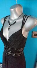 Jane Norman maxi dress 10 12 prom wedding black long evening bodycon lace