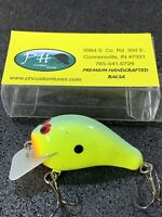 PH Custom Lures - Lil' Hunter - Custom Balsa Squarebill - Chartreuse Blue Black