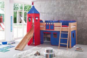 Vorhang mit Turmzelt Stoff für Hochbett Spielbett Kinderbett in blau rot