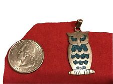 Vintage Mexico STERLING OWL PENDANT/charm W/inlaid Turquoise