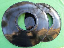 2 très grands abats jour tôle émaillées lampe de cour verre diamètre 40,5 cm