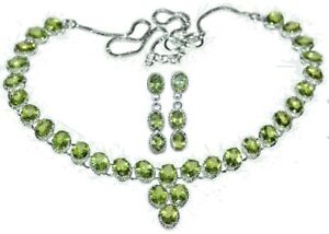 Natural PERIDOT Solitaire Necklace Earrings SET Sterling SILVER, Green Gemstones