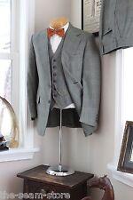VTG Wool Tweed 3 Piece Suit 39R 34/31 Green Glen Plaid Check Vest Pants Jacket