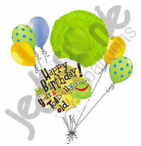 7 pc You're Toadally Old Happy Birthday Balloon Bouquet Decoration Frog Green