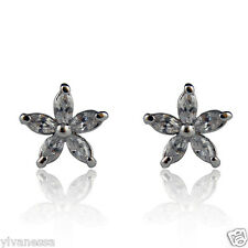 18k white Gold GF Diamond simulant star stud earrings