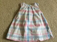 Girls 0-3 months checked summer dress Mothercare good con pink blue grey white