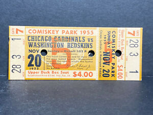 Original 1955 Washington Redskins Ticket Stub vs Chicago Cardinals L@@K