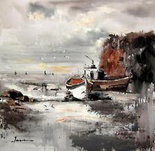 paysage marin bateau tableau peinture huile sur toile / painting on canvas sea