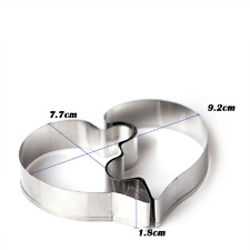 Heart Shape 2Pcs Puzzlle Stainless Steel Fondant Cookie Cutter Mold