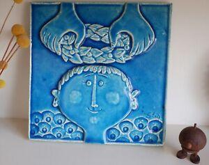 Rare Wall Plaque by Stig Lindberg Studio Pottery Gustavsberg - Monokrom Series -