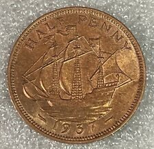 More details for high grade lustrous - 1937 gb half penny halfpenny 1/2p - george vi  #112