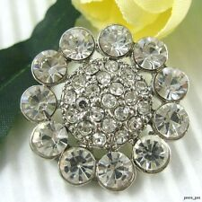3 Big Sparkling Clear Crystal Rhinestone Buttons~Jacket/Coat #S103