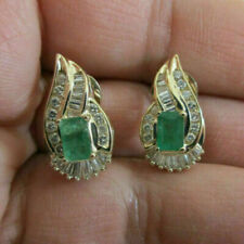 14K Yellow Gold Over Baguette Diamond & Emerald Omega Back Earrings 3.20Ct