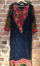 Vintage Sari Festival Dress Wedding Dress Indian Boho Embroidery Navy Red 14-16