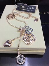 Designer Long Silver And Rose Gold Necklace, Multiple Pendants - Gift Packaged