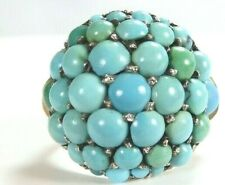 Antique Retro Vintage Persian Turquoise 14K Rose Gold Dome Ring Size 5.75 UK-L