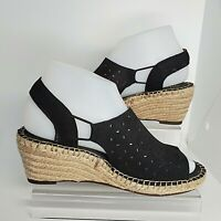 Clarks Artisan Womens 6.5 M Black Petrina Gail Espadrille Wedge Sandals Shoes