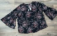 Plus Size New Women Boho Floral Scoop Neck Long Bell Sleeve Blouse T Shirt Tops