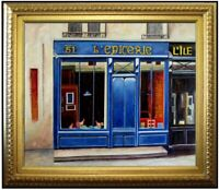 Framed  Quality Hand Painted Oil Painting Storefront in Blue 20x24in