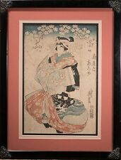 "Keisai Eisen Original Woodblock ""Courtesan"" Beautiful & Rare! Circa 1820, Framed"