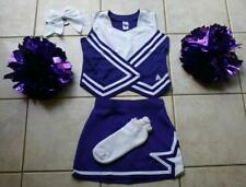 CHEERLEADER HALLOWEEN COSTUME OUTFIT PURPLE WHITE UNIFORM POM POMS 12 GIRLS