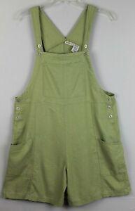 WHITE STAG Womens Linen Blend Bib Overall Shorts Size L (12-14)Green GUC #17313