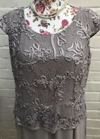 Jacques Vert Evening Dress Size 14 Silver Grey Flapper Long Belted Occasion