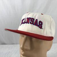Vtg Kansas Jayhawks Hat Fitted Size 8 Cap White Red 100% Wool New Era 5950
