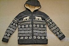 MARKS AND SPENCER M&S WOOL BLEND GREY AZTEC FLEECE LINED HOODED CARDIGAN 11-12yr