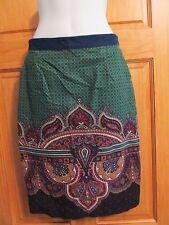EDME & ESYLLTE Border Print Paisley Wale Corduroy Skirt sz 2 Pockets Lined EUC