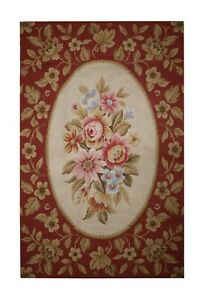 Floral Wool Needlepoint Carpet Handwoven Traditional Area Rug 91x152cm