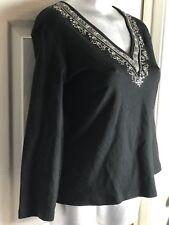 Black Beaded Sequin Top Shirt Blouse M Bloomingdale Sutton Studio