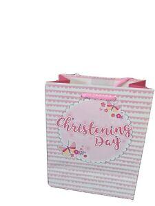 Gift Bags Medium Portrait Glitter Christening Day Female 18x23cm