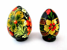 "Pair 2 Handcrafted Flower Design Wood Ukrainian Eggs Decorative Wooden Egg 2.5""T"