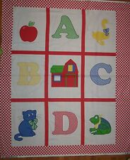 A B C D Cheater Baby Quilt Cotton Fabric Panel Red & White Checker Border