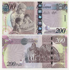Botswana 200 Pula ND 2009 Pick New UNC Uncirculated Banknote Serial AA
