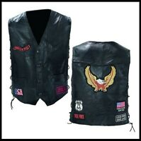 Gilet en Cuir patch Aigle route 66 - M à 4XL - NEUF biker country custom harley