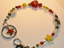 "Key Ring ""Mickey Mouse""Glass Beads~Key Chain Lanyard 8"" NEW~Buy 3 SHIP FREE"