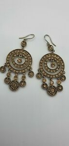Monet Gold Tone Dangle Earrings With Stones