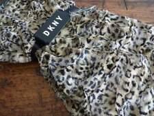 DKNY Black Brown Tan LEOPARD Faux Animal FUR Super SOFT PLUSH THROW BLANKET