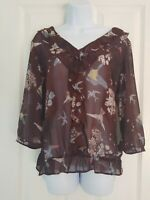 Womens Next Blouse top size 16 brown red birds flower ruffle work casual   vgc