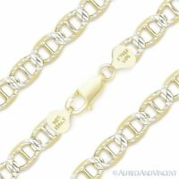 8mm Marina Mariner Link 925 Sterling Silver 14k Yellow Gold Italy Chain Bracelet