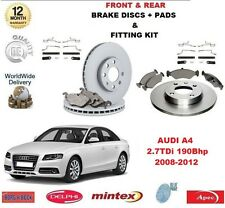 FOR AUDI A4 2.7 TDI 190 BHP 2008-2012 FRONT REAR BRAKE DISCS PADS + FITTING KITS