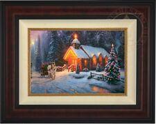 Thomas Kinkade Christmas Chapel 12 x 18 LE Standard Number Canvas (Burl Frame)