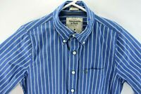 Abercrombie & Fitch Mens Medium Dress Shirt Blue Stripe Button Front Long Sleeve