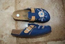 New Blue Fabric & Tan BIRKENSTOCK Betula Slides w/Embroidered Floral Design US 7