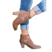 Women Ladies Ankle Boots High Block Heel Buckle Lace Up Casual Winter Shoes Size